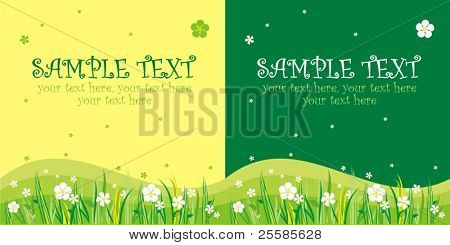 Two variants of cards design with flowers and text