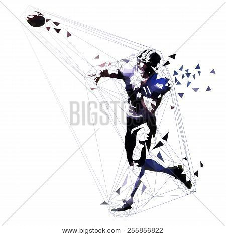 American Football Player Throwing Ball, Quarterback Polygonal Vector Illustration. Low Poly Team Spo