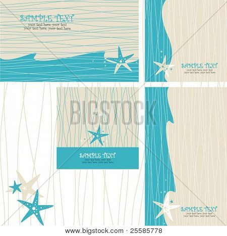 greeting cards set with sea star - invitation for party or wedding. Good for wedding on the beach