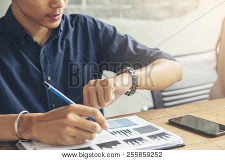 Time Out Concept.business Man Seeing Wrist Watch To Check Time At Office.boss Look At Clock To Work.