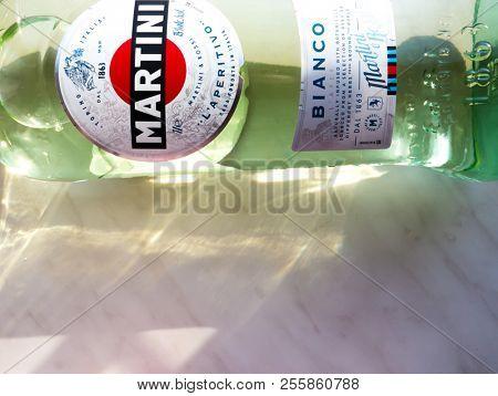 GOMEL, BELARUS - AUGUST 17, 2018: Martini (Vermouth) Bianco. Martini is a brand of Italian vermouth, named after the Martini & Rossi Distilleria Nazionale di Spirito di Vino, in Turin.
