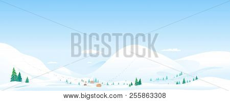 Mountain Ski Resort Winter Landscape Panorama With Cottages And Funiculars, Beautiful Winter Day On
