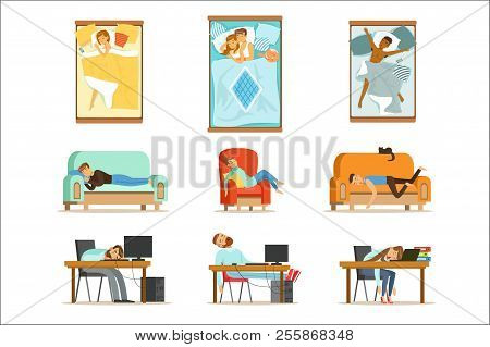 People Sleeping In Different Positions At Home And At Work, Tired Characters Getting To Sleep Set Of