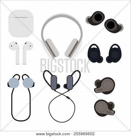 Set Of Wireless Headphones Flat Vector Illustration. Different Types Of Wireless Headphones. The Con