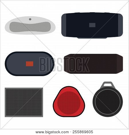 Set Of Wireless Speakers Flat Vector Illustration. Wireless Speakers With Batteries, Music For Rest