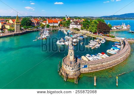 Scenic Summer Aerial View Of The Old Town Pier Architecture In Lindau, Bodensee Or Constance Lake, G