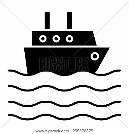 Ship Liner Solid Icon. Cruise Ship Vector Illustration Isolated On White. Ocean Ship Glyph Style Des