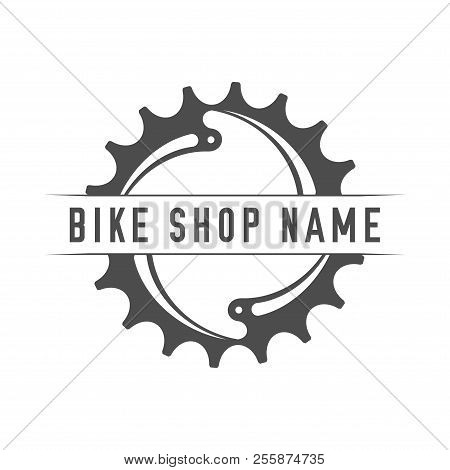 Bikes Shop Emblem. Design Element For Bike Shop Or Advertising Banner. Chainring And Place For Your