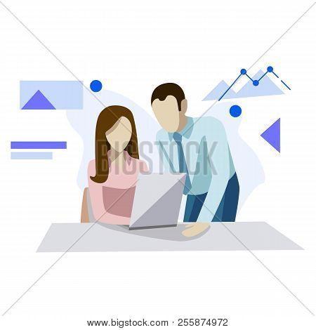 Vector Illustration, Flat Style, Businessmen Discuss, News, Office Concept Business People. Concept