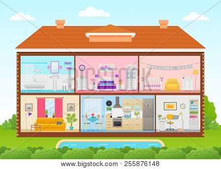 House Interior. Vector. Home Cross Section With Rooms Bedroom, Living Room, Kitchen, Office, Bathroo