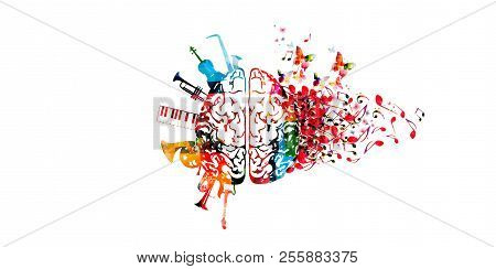 Colorful Human Brain With Music Notes And Instruments Isolated Vector Illustration Design. Artistic
