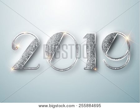 Happy New Year 2019 Greeting Card With Silver Numbers On White Background. Vector Illustration. Merr