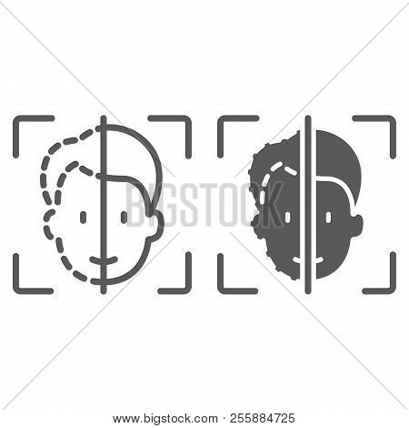 Face Id Line And Glyph Icon, Face Recognition And Face Identification, Face Scanning Sign, Vector Gr