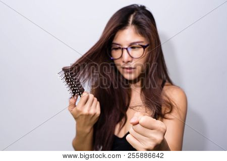 Woman With Hair Loss Holding Comb. Young Girl Losing  Hair Problem, Falling Hair On Brush Healthy Me