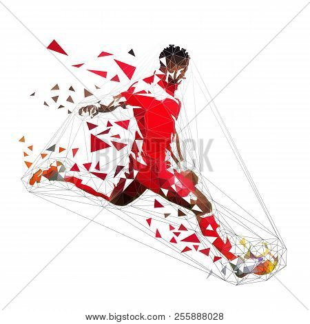 Football Player In Red Jersey Kicking Ball, Abstract Low Poly Vector Drawing. Soccer Player, Isolate