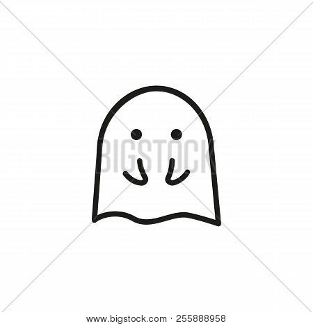 Embarrassed ghost line icon. Shocked, shy, fear. Halloween concept. Vector illustration can be used for topics like character, phantom, mystery poster