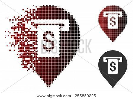 Cash Machine Pointer Icon In Sparkle, Pixelated Halftone And Undamaged Whole Versions. Pixels Are Ar