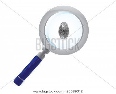 Raster magnifying glass finding fingerprint
