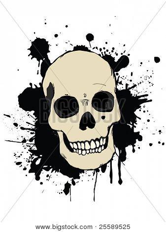 Vector Human Skull with Splash Effect