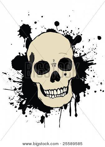 Raster human skull with splash effect