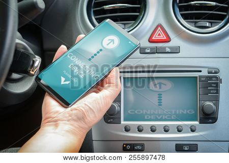 Connecting smart phone to the car audio system using wireless technology