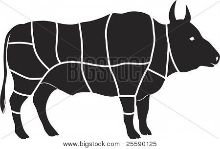 Vector beef cutting chart diagram