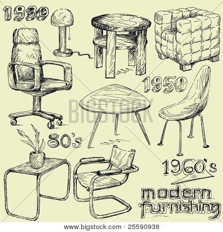 modern home furniture doodles