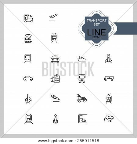 Transport Icons. Set Of Line Icons. Train, Airplane, Taxi. Vehicle Icon Set. Vector Illustration Can