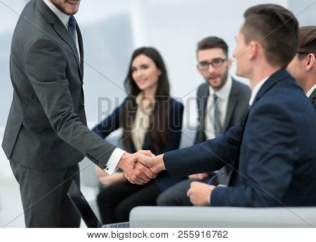 Businessman with hands together. business concept.