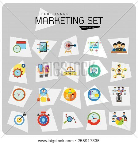 Marketing Icon Set. Targeting Users Split Test E-mail Marketing Brand Identity Marketing Analysis So