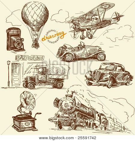 old times-original hand drawn set