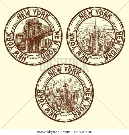 grunge rubber stamp with new york - vector illustration