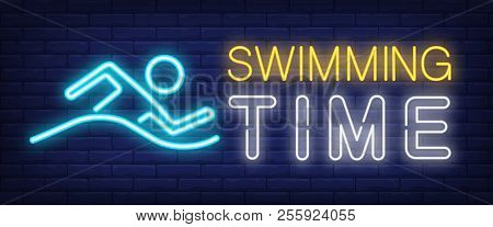 Swimming Time Neon Sign. Glowing Bar Lettering With Swimming Man On Brick Background. Night Bright A