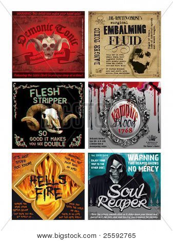 Set of 6 Fun Halloween Drink Bottle labels, print out onto ink jet sticker sheets, cut out and label your favorite tipple for a fun night! poster