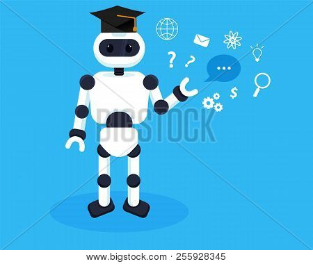 Robot Learns New Infomation. Machine Learning Illustration Concept.robots Collects Knowledge
