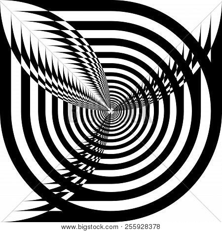 Abstract Arabesque Quasy Spinning Perspective Space Design Black On Transparent Background