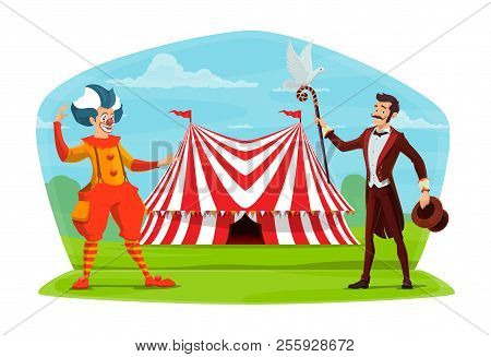 Circus Marquee Tent And Clown With Illusionist Poster. Vector Cartoon Design Of Magic Show Character