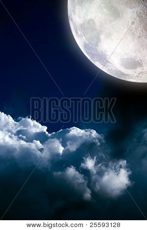 Magic moon in the clouds
