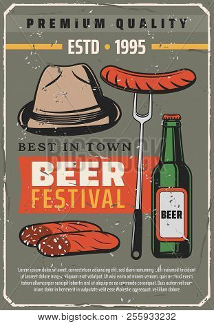 Beer Festival Retro Poster For Traditional Oktoberfest Or Bavarian Brewery House. Vector Vintage Des