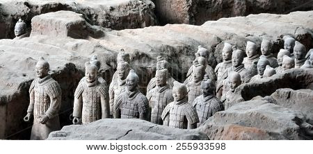 Xian, China - October 29, 2017: Terracotta Army. Clay Soldiers Of The Chinese Emperor. Sculptures Of