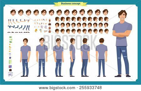 Young Man In Casual Clothes. Character Creation Set. Full Length, Different Views, Emotions, Gesture