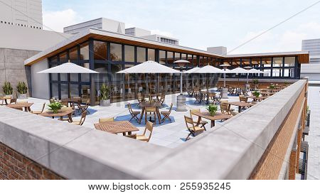 Cafe On The Roof Of The Shopping Center In The Open Air With Umbrellas From The Sun. 3d Rendering.