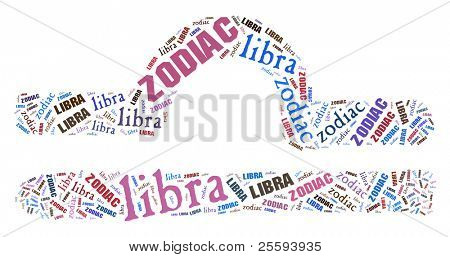 Textcloud: silhouette of libra