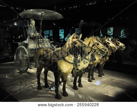 Xian, China - October 29, 2017: Cavalry Of Terracotta Army. Terracotta Army. Clay Soldiers Of The Ch