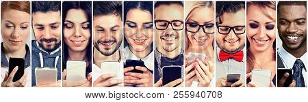 Group Of Happy People Using Mobile Smart Phone