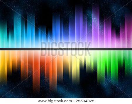 Equalizador gradiente de arco-íris em starfield