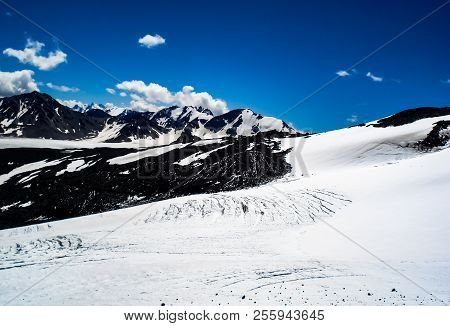 Mountain Landscape With Snow. Snow In The Mountains. Mountain Landscape.