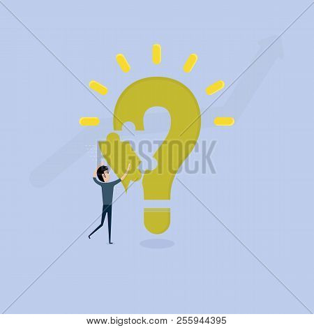 Businessman With Question Mark Jigsaw Puzzle Icon.question Mark Jigsaw Puzzle Icon With Light Bulb I