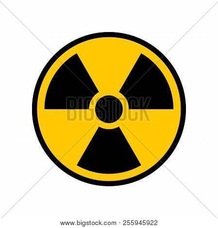 Radioactive Warning Yellow Circle Sign. Radioactivity Warning Vector Symbol.