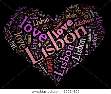Wordcloud: love heart of city Lisbon